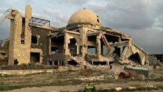 Мечеть на одной из улиц освобожденного Сирийской арабской армией населённого пункта Осман в провинции Дераа