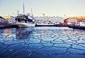 Вид на порт в центре Хельсинки, Финляндия