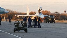 Подготовка истребителей Су-27 к выполнению учебно-боевых задач в Севастополе