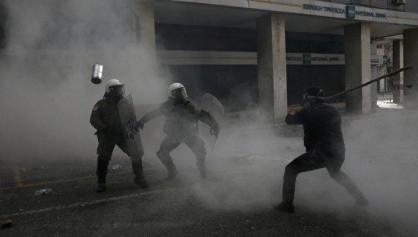 Митинг греческих фермеров возле министерства сельского хозяйства, 12 февраля 2016