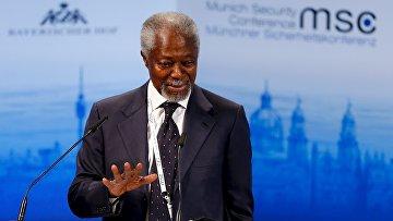 Бывший генеральный секретарь ООН Кофи Аннан выступает на Мюнхенской конференции по безопасности