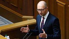 Премьер-министр Украины Арсений Яценюк на заседании Верховной рады Украины