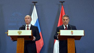 Президент России Владимир Путин и премьер-министр Венгерской Республики Виктор Орбан во время совместной пресс-конференции в Будапеште. 17 февраля 2015. Архив