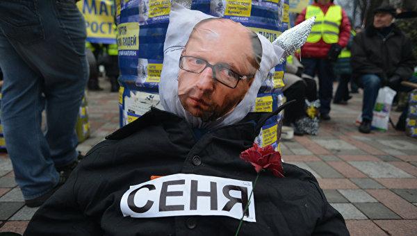 Акции на Украине с требованием отставки правительства во главе с премьер-министром А. Яценюком. Архивное фото