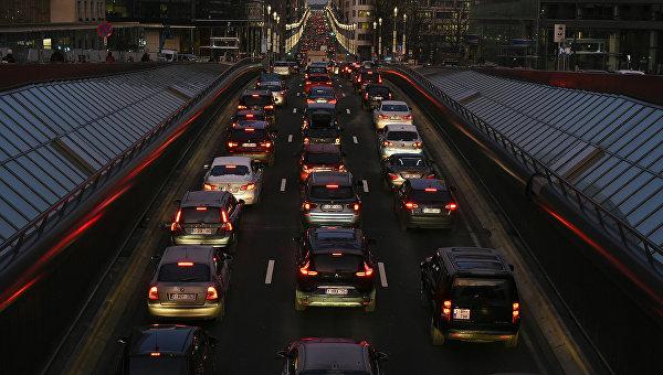Пробка на дороге в Брюсселе