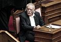 Греческий писатель и политический деятель Манолис Глезос на заседании парламента в Афинах. 2012 год