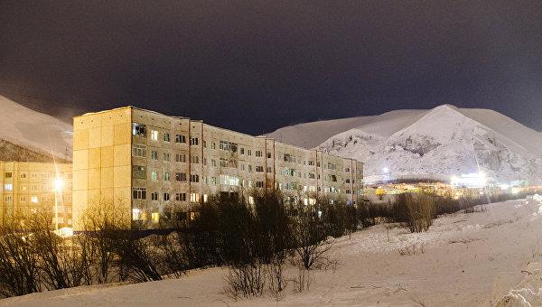 Жилые дома в городе Кировск Мурманской области, на которые сошла лавина
