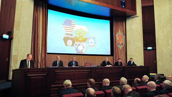 Президент России Владимир Путин на заседании коллегии Федеральной службы безопасности в Москве
