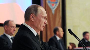 Президент России Владимир Путин выступает на заседании коллегии Федеральной службы безопасности в Москве