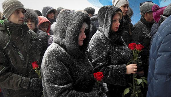 Церемония прощания с шахтерами, погибшими в результате аварии на шахте Северная. Архивное фото