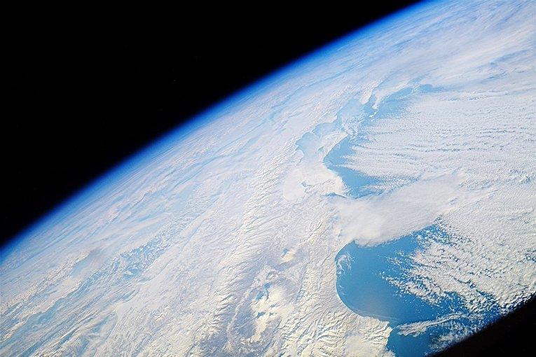 Вид на полуостров Камчатка снятый с Международной космической станции