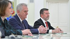 Президент Сербии Томислав Николич во время встречи с президентом России Владимиром Путиным в Кремле