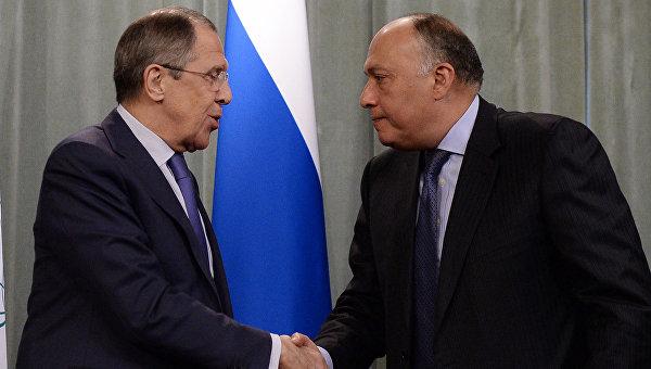 Министр иностранных дел РФ Сергей Лавров и министр иностранных дел Египта Самех Шукри во время пресс-конференции в Москве