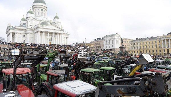 Протест фермеров в Хельсинки. 11 марта 2016