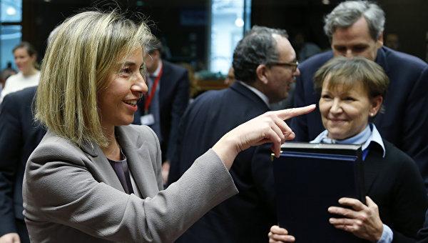 Глава европейской дипломатии Федерика Могерини перел началом встречи министров иностранных дел ЕС в Брюсселе. Бельгия, 14 марта 2016