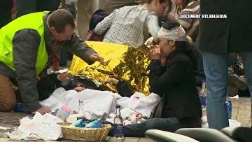 Пострадавшие во время взрыва в метрополитене Брюсселя. 22 марта 2016 год