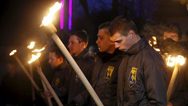 Активисты гражданского корпуса Азов у посольства Бельгии в Киеве