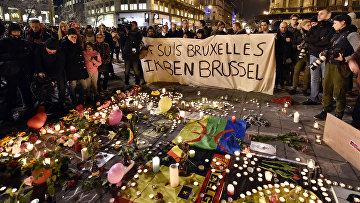 Акция памяти жертв террористических актов в Брюсселе, Бельгия. 22 марта 2016
