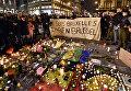 Акция памяти жертв террористических актов в Брюсселе, Бельгия