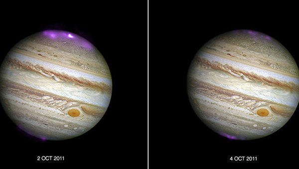 Вспышки полярного сияния на Юпитере