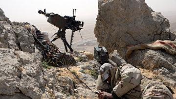 Боец отряда народного ополчения Соколы пустыни на огневой позиции в районе сирийского города Пальмира