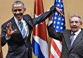 Президент Кубы Рауль Кастро и президент США Барак Обама во время встречи во Дворце Революции в Гаване 21 марта 2016 года