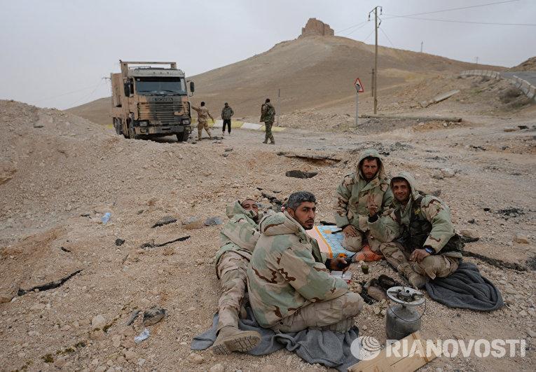 Бойцы Сирийской арабской армии и отряда народного ополчения Соколы пустыни на подступах к Пальмире