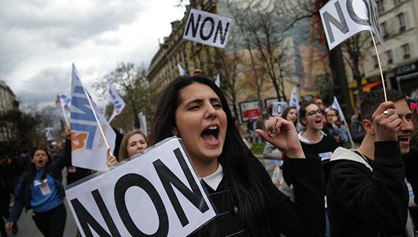 Французские профсоюзы протестуют против реформы трудового законодательства