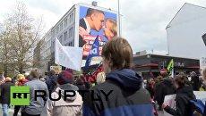 Опубликовано видео акции протеста против торгового соглашения ЕС и США
