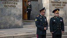Министр обороны Украины генерал-полковник Степан Полторак у здания Министерства обороны Украины в Киеве. Архивное фото