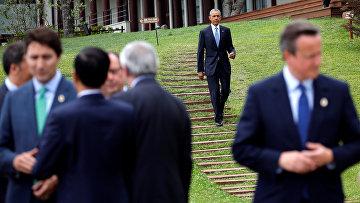 Президент США Барак Обама и лидеры стран-участниц саммита G7 в Японии. 27 мая 2016 года