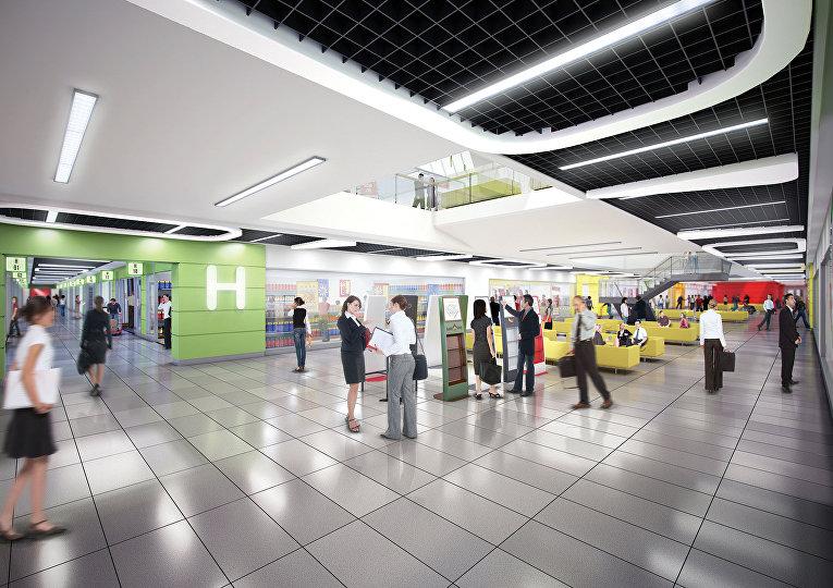 Смоделированный компьютером холл торгового центра