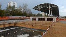 Строительство станции малого кольца Московской железной дороги Войковская в Москве. Архивное фото