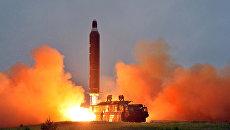 Испытание стратегической баллистической ракеты Хвасон-10 в Северной Корее. 23 июня 2016