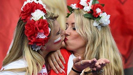Польские болельщицы перед началом матча группового этапа чемпионата Европы по футболу - 2016