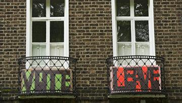Балкон жилого дома в Лондоне в день референдума по сохранению членства Великобритании в ЕС. Архивное фото