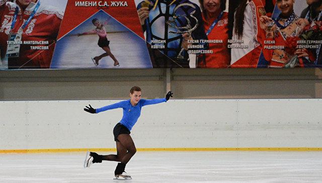 Российская фигуристка Аделина Сотникова и на тренировке. Архив