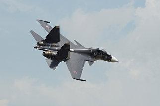 Самолет Су-30СМ на конкурсе летных экипажей морской авиации ВМФ Морской ас-2016