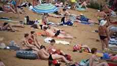 Москвичи отдыхают на пляже в Строгинской пойме. Архивное фото