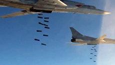 Удар бомбардировщиков Ту-22 по вновь выявленным объектам ИГ в р-нах Пальмиры