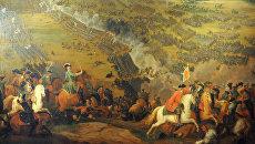 Картина Битва при Полтаве художника П.Д. Мартена-младшего (1726 г.) на выставке, посвященной 300-летию Полтавской битвы