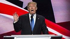 Кандидат в президенты США Дональд Трамп выступает на общенациональном съезде Республиканской партии в Кливленде