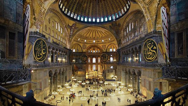 Интерьер Собора Святой Софии в Стамбуле, Турция. Архивное фото