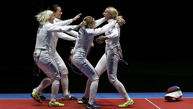 Женская сборная России выиграла матч за бронзу в командном первенстве по фехтованию на шпагах на Играх в Рио