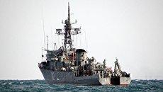 Морской тральщик Турбинист во время учений Черноморского флота. Архивное фото
