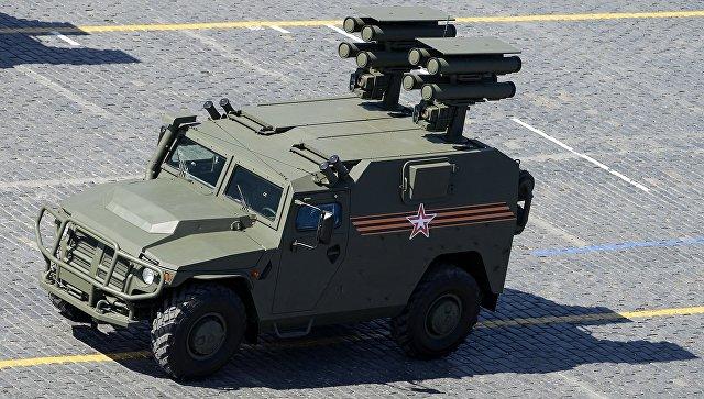 Бронеавтомобиль с противотанковым ракетным комплексом Корнет. Архивное фото