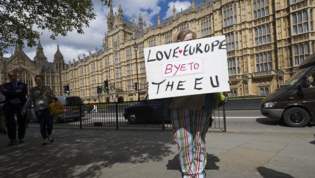 Женщина с плакатом у здания парламента в Лондоне. Архвинео фото