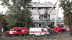 Студия телеканала Интер сгорела в Киеве. Кадры с места ЧП
