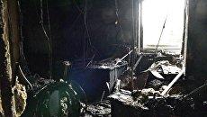 Последствия пожара в здании телеканала Интер в Киеве. Архивное фото