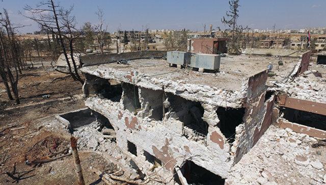 На территории военных училищ в Алеппо. Архивное фото